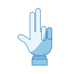 blue color shading silhouette hand palm showing vector image