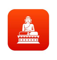 buddha statue icon digital red vector image