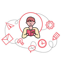 calm boy reading book male character pastime vector image