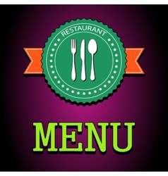 Card Restaurant menu label with flatware icon - vector