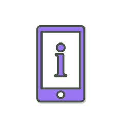 Cell phone icon with information sign vector