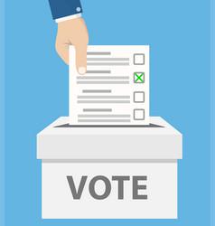 Checklist in man hand in vote box on blue stock vector