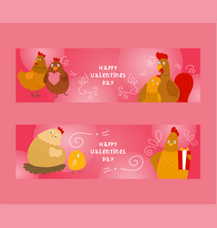 chicken and rooster with chicks set of banners vector image