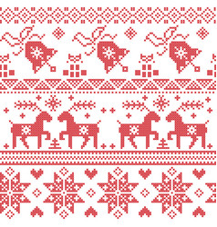 Christams nordic cross stitch pattern vector image