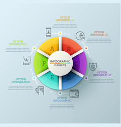 circular chart divided into 6 colorful parts and vector image