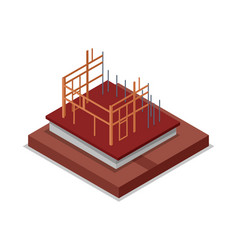 Construction structure of walls isometric 3d icon vector
