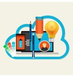 Creative cloud software mobile art design vector