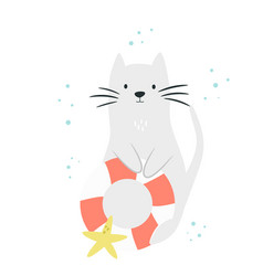 cute cat with swimming ring and sea star vector image