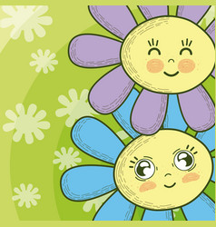 Cute flowers cartoons vector