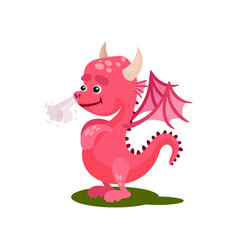 Cute pink dragon with steam from the nose vector