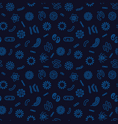 Dark seamless bacterium pattern vector