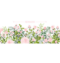 Delicate border blush pink flowers forest vector
