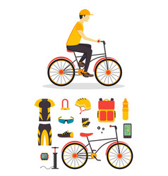 delivery boy and bicycle business service vector image