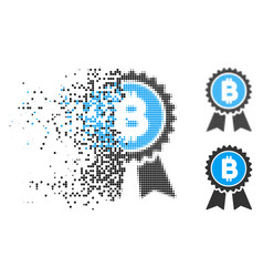 Dissolved dot halftone bitcoin award seal icon vector
