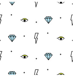 Doodle hipster lightning eye and diamond seamless vector