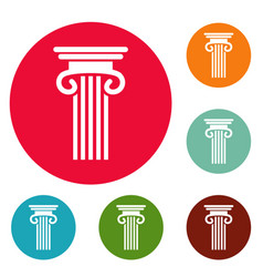 double columned column icons circle set vector image