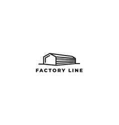 Factory line long building logo design vector