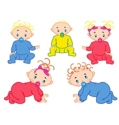 Five babies isolated on white background vector