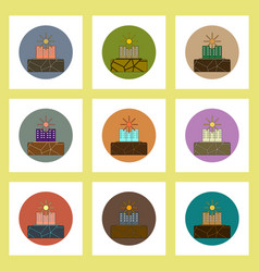 Flat icons set of cracked earth and buildings vector