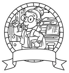 Funny translator or interpreter emblem vector