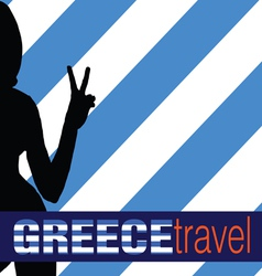 greece travel with girl and two finger vector image