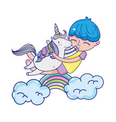 happy boy hugging unicorn with rainbow and clouds vector image