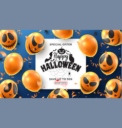 happy halloween sale banner vector image
