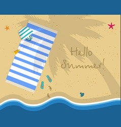 Hello summer square banner sunny beach top view vector