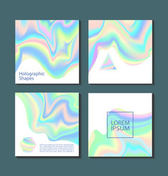 holographic shapes backgrounds set applicable vector image