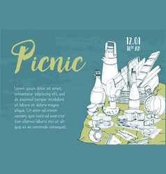horizontal banner poster picnic announcement or vector image