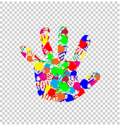 Ilhouette of baby hand with colorful handprint vector