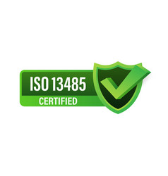 Iso 13485 certified badge icon certification vector