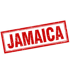 Jamaica red square grunge stamp on white vector