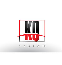 Kq k q logo letters with red and black colors vector