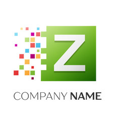 Letter z symbol in the colorful square vector