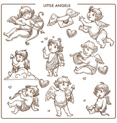 little angels monochrome sketch outline small vector image