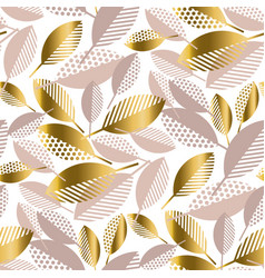 luxury geometric fall leaves seamless pattern vector image
