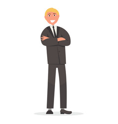 Man in suit with crossed arms on chest vector