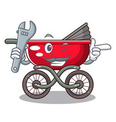 Mechanic modern baby stroller isolated against vector