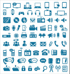 Media and communication icons blue edition vector