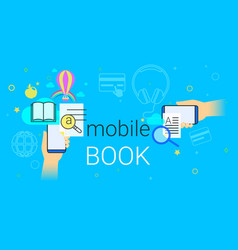 mobile book and electronic library app on vector image