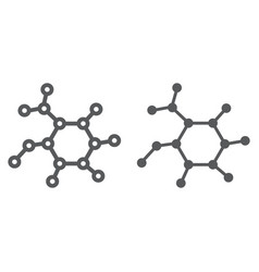 molecule line and glyph icon science and vector image
