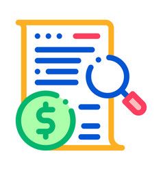 money contract check icon outline vector image