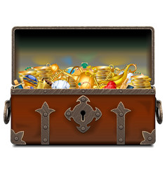 Old pirate forged chest with gold vector