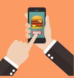 Order fast food online vector