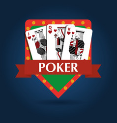 Poker card combination royal game risk emblem vector