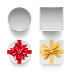 present boxes with bows gifts celebration vector image