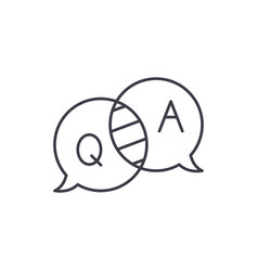 questions and answers line icon concept questions vector image