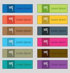 racing flag icon sign Set of twelve rectangular vector image