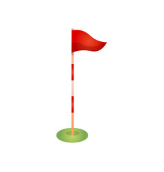 red golf flag pole with marks and wind direction vector image